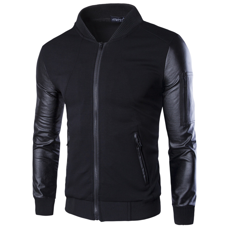 Brand clothing <font><b>jacket</b></font> Men Hoodies Patchwork Leather <font><b>long</b></font> <font><b>Sleeve</b></font> Fashion cotton <font><b>Splice</b></font> leather <font><b>jacket</b></font> Men black Coat XXXL KU68