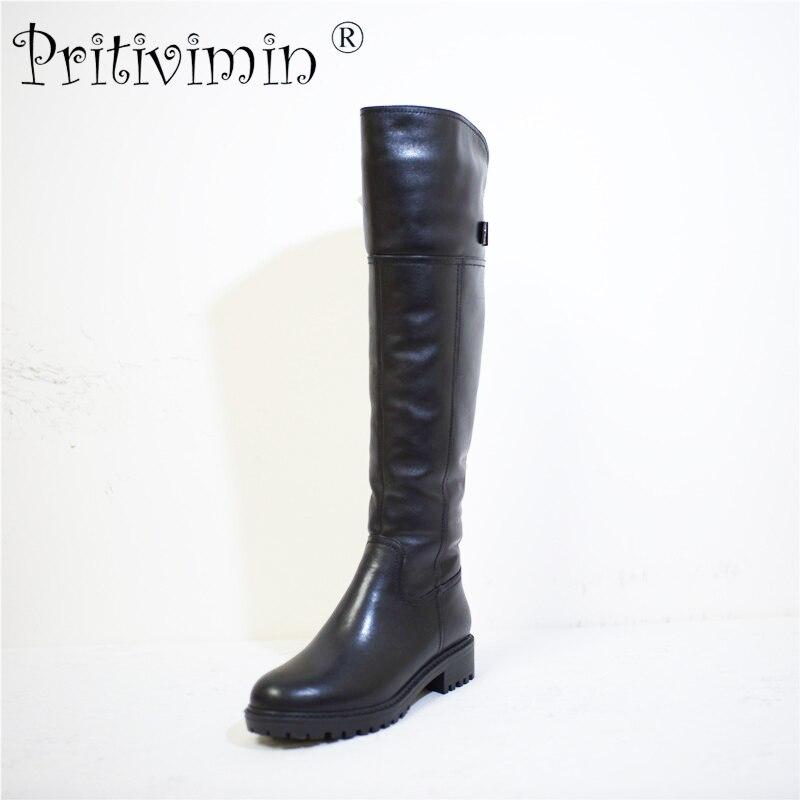 Pritivimin FN74 Dames de vache en cuir bottes femmes d'hiver femmes à la main chaussures filles chaud réel laine fourrure sur le genou haute bottes