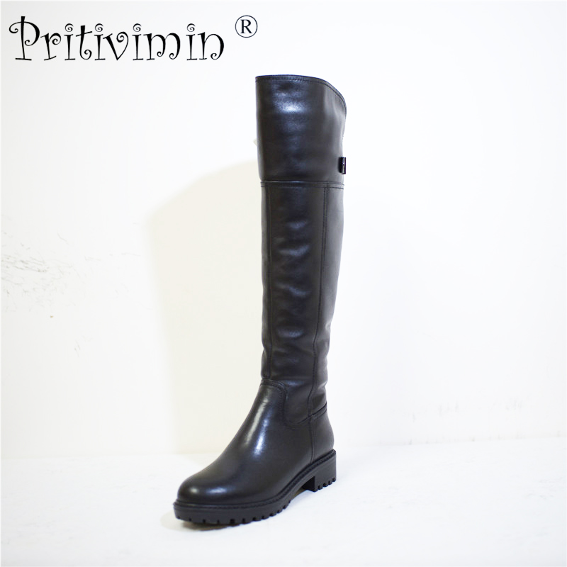 Pritivimin FN74 Ladies cow leather bottes femmes winter women handmade shoes girls  warm real wool fur over the knee high boots