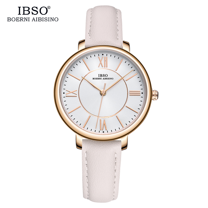 IBSO Brand Fashion Women Watches 2018 Red Luxury Genuine Leather Strap Quartz Watch Women Ladies Wristwatches Montre Femme skmei women watches leather strap quartz woman wristwatches top brand luxury ladies watch small dial 2018 new style montre femme