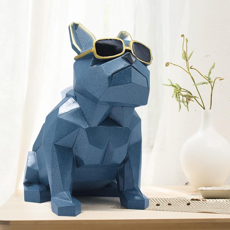 Fun Bulldog Wear sunglasses resin decoration sculpture Geometric Art Cool dog home craft decorationFun Bulldog Wear sunglasses resin decoration sculpture Geometric Art Cool dog home craft decoration