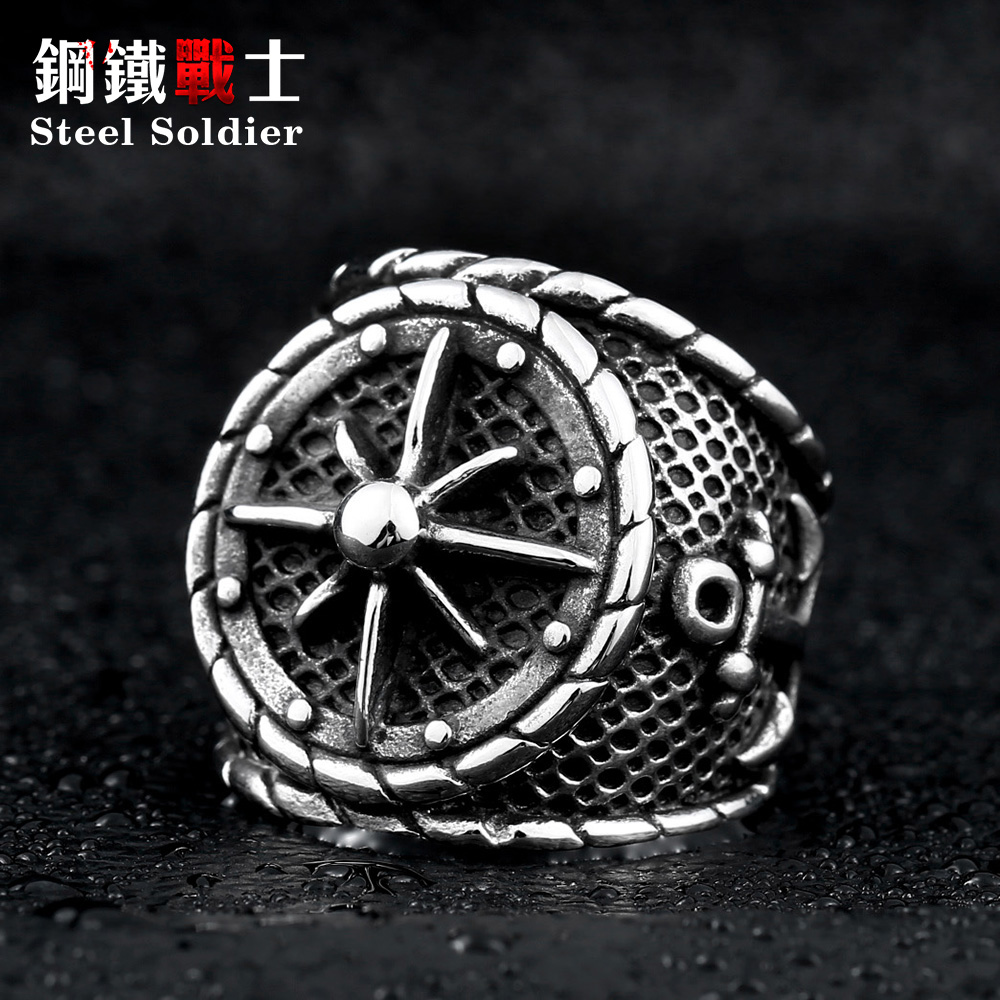 Steel soldier stainless steel anchor cincin perhiasan titanium steel men punk ring cincin jualan panas popular
