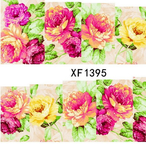 2016 Top Fashion Manicure 2sheets New Cheap Flower Mix Colors Charm Nail Art Water Transfer Sticker For Nails Tips Xf1395