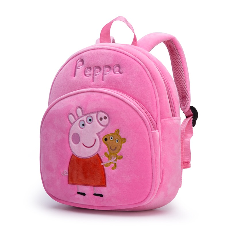 New Arrival Genuine PEPPA PIG peppa George plush backpack high quality Soft Stuffed cartoon bag Doll For Children kids toy  1