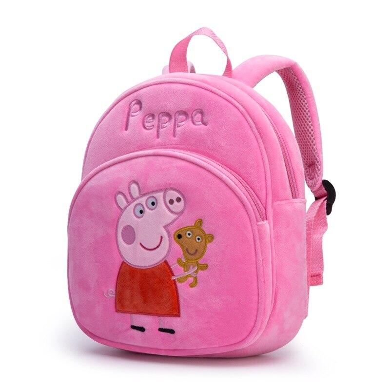New Arrival Genuine PEPPA PIG peppa George plush backpack high quality Soft Stuffed cartoon bag Doll For Children kids toy  1