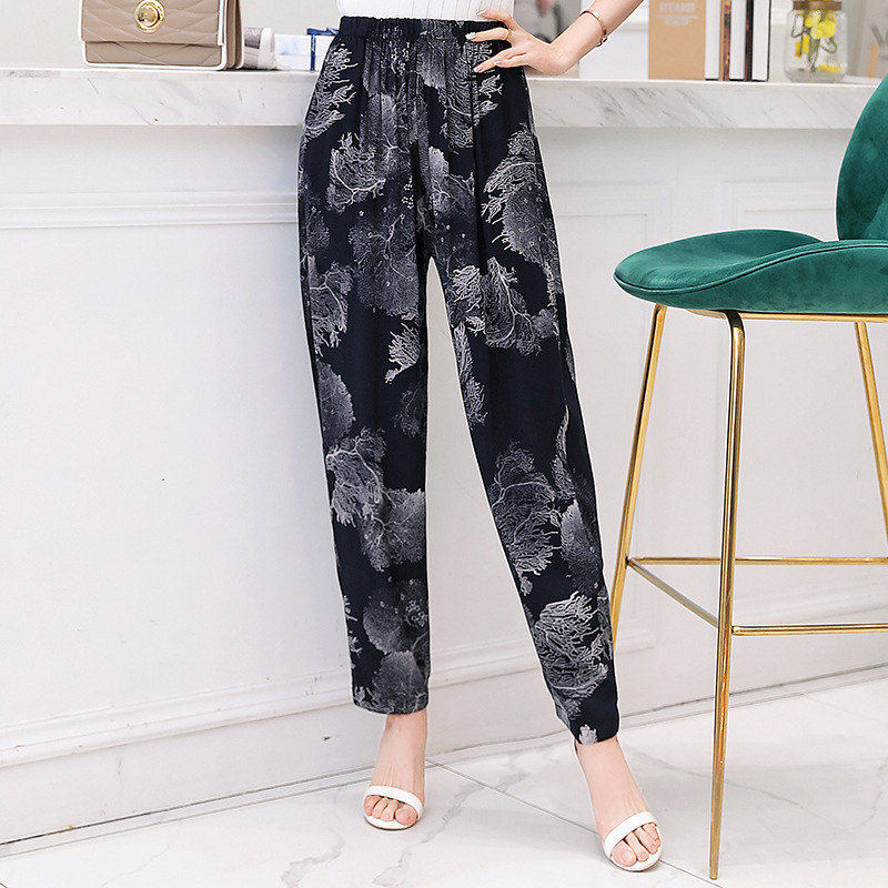 Classic Printed Casual Trousers For Women Loose High Waist Elastic Harem Pants Female 2019 Summer Wide Leg Pants Plus Size 5XL
