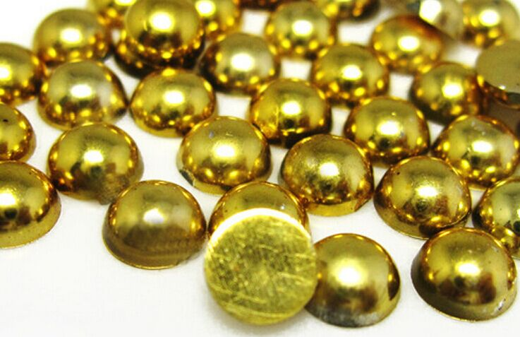 2mm,4mm,5mm,6mm,8mm,10mm,12mm Jelly Gold Hematite Flat back ABS round Half Pearl beads, imitation plastic half pearl beads