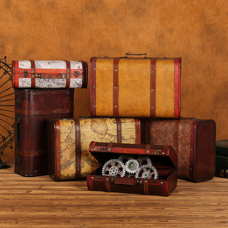 Big Vintage Metal wood storage box with Lock suitcase jewelry box for gift craft for organizer Desket decorations packaging