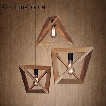 American chandelier restaurant coffee solid wood Nordic retro geometric shape wood frame