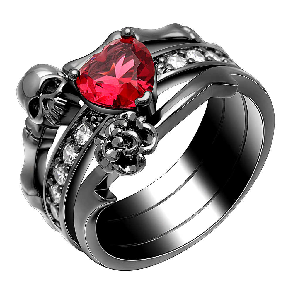 Gothic Skull Finger Black Gold Color Wedding Rings Sets For Women