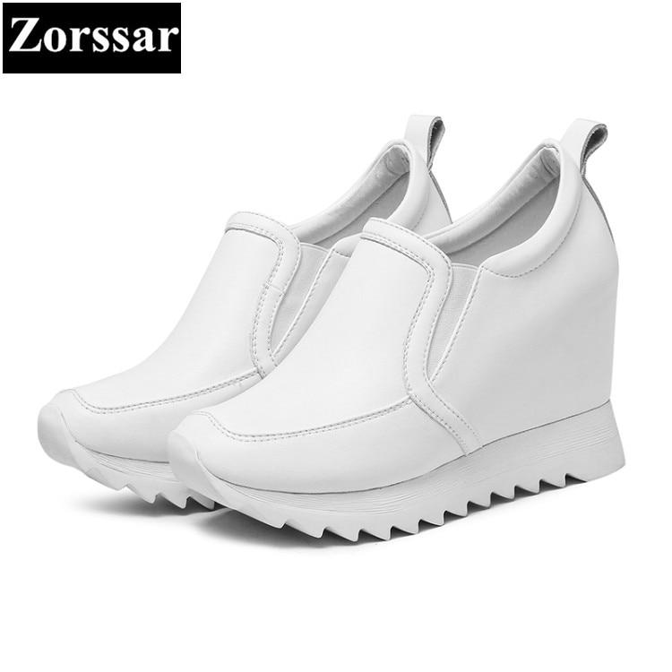 Plataforma Zapatos Tacón blanco 2018 Negro Mujeres La Alto Cuña Las De Moda Señoras {zorssar} Aumento Altura Casual En Bombas Mujer Deslizamiento FY47R