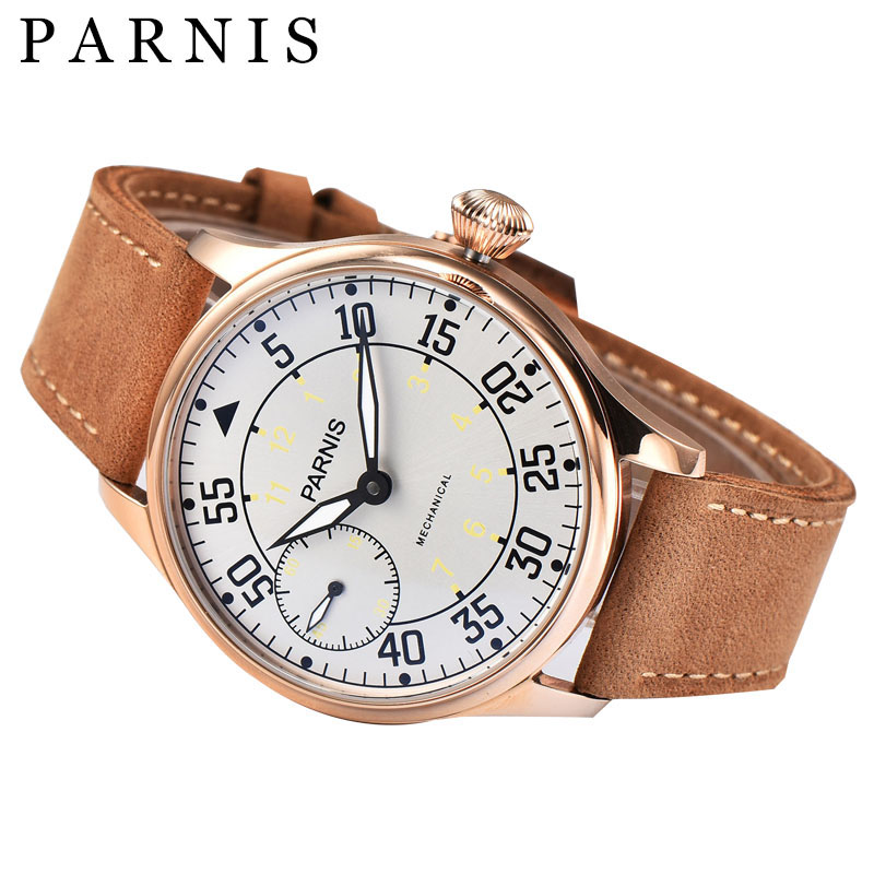 Casual 44mm Men Watch Parnis Hand Winding Mechanical Watches Seagull Movement White Dial Gold Stainless Steel Case Free Shipping parnis white dial st3600 goose neck movement hand chain mechanical men s watch wholesale