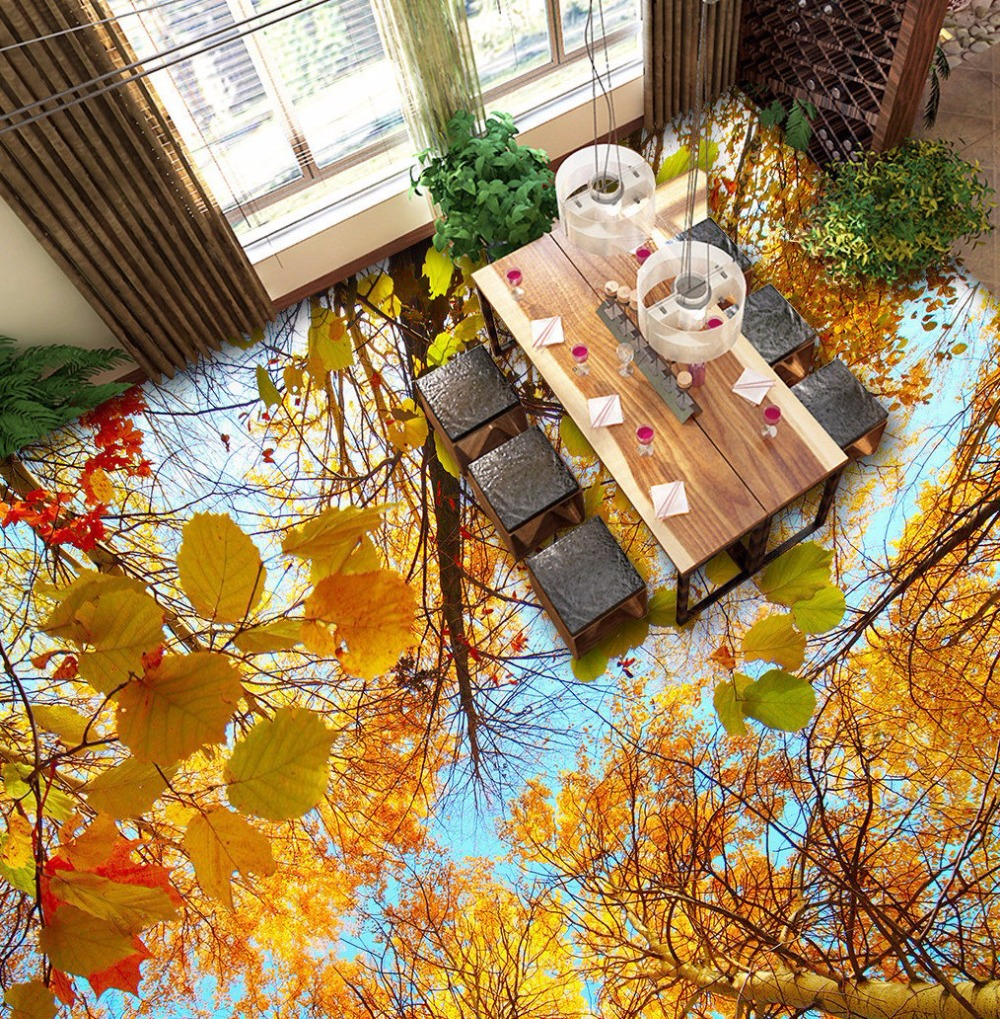 ФОТО Free Shipping 3D stereo Autumn trees wood floor painting kitchen living room self-adhesive wear floor wallpaper mural
