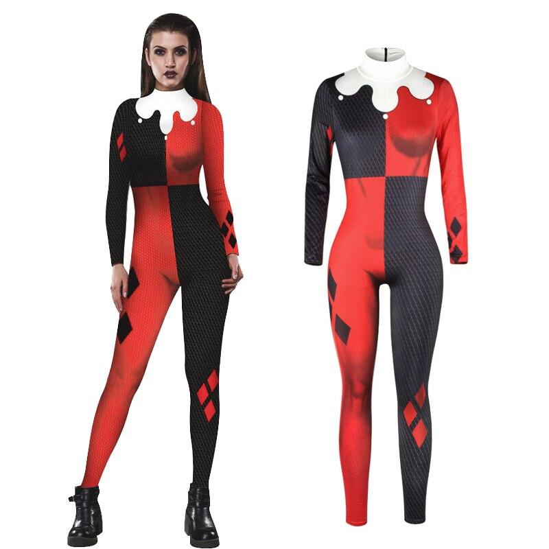 Costumebuy Suicide Squad Harley Quinn Cosplay Costume Bodysuit Jumpsuits Fantasia Halloween Costumes Women Girls Fancy Dress