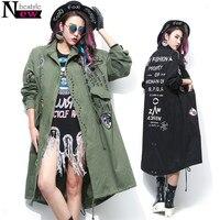 2018 Embroidery Applique Jacket Coat Women Fashion Rivets Bomber Jacket Women Long Coat Army Green Oversized Cotton Trenchcoat