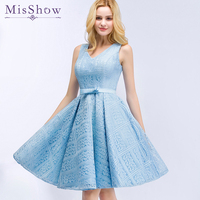 Elegant Sleeveless Lace v neck dress Prom Gown Dancing Party short Prom Dresses 2019 Formal Evening Light Blue graduation dress