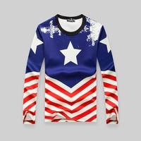 2016 Bahar Yeni Moda T Gömlek Erkekler Uzun Kollu Abd Amerikan tarzı Bayrak Baskı T Gömlek Güz Erkekler Tişörtleri Spor Camiseta BC002
