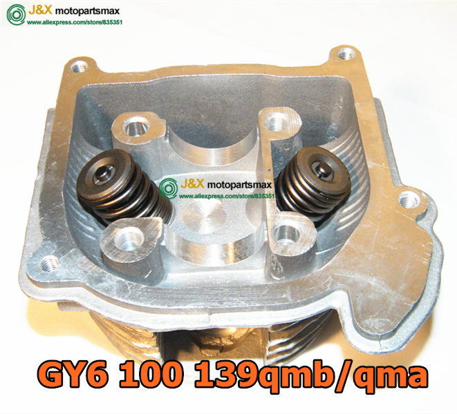Free shipping 100CC GY6 CYLINDER HEAD GY6 50cc 80cc upgrade to 100cc Cylinder assy 4-stroke 139QMB Moped Scooter Kart ATV ...