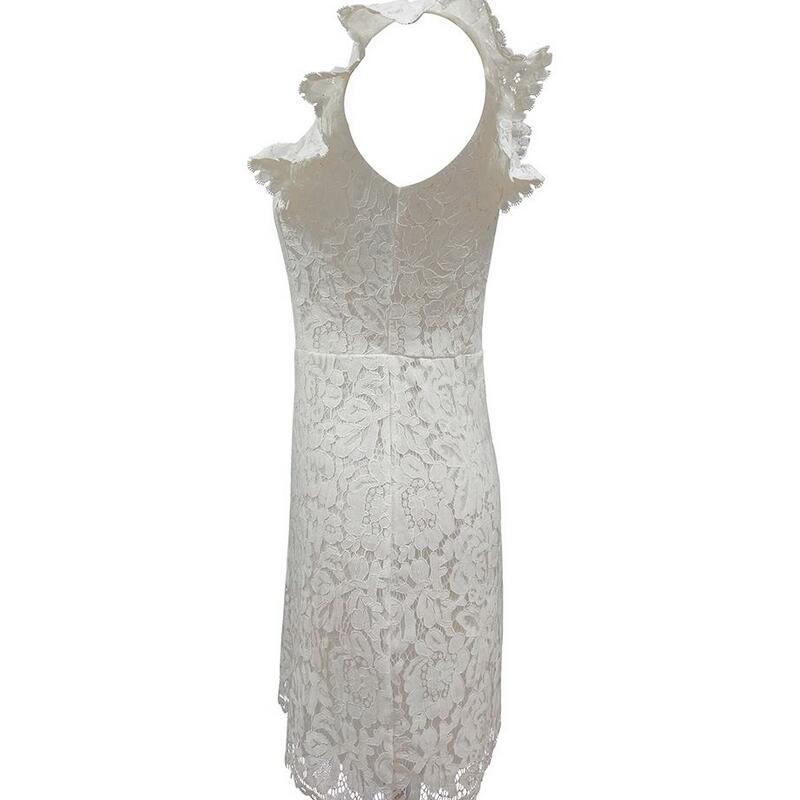 lace dress white summer women elegant bodycon office short ruffle vestidos cortos de fiesta robe femme blancos pencil sukienki