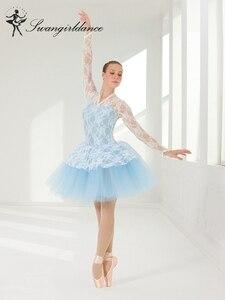 Новое поступление, балетное платье-пачка с длинными рукавами и кружевом для девочек, балетная пачка синего или лилового цвета, BL0125