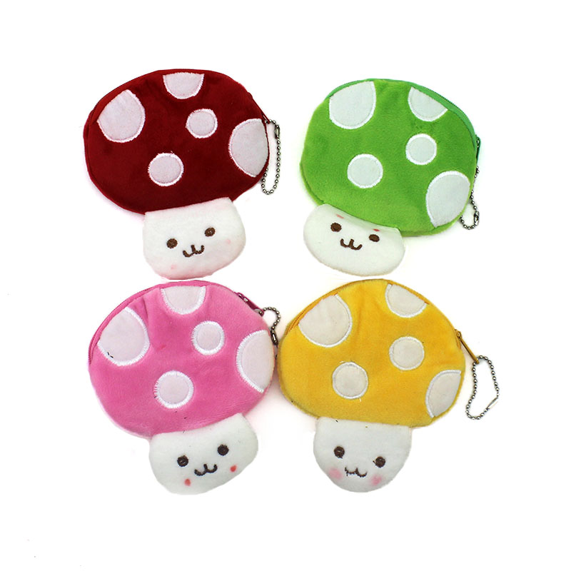 New Oval Cartoon CandyColor Mushroom Zip Coin Purse Cute Children Plush Purse Bag Kids Girl Small Change Purse Wallet Card Holde
