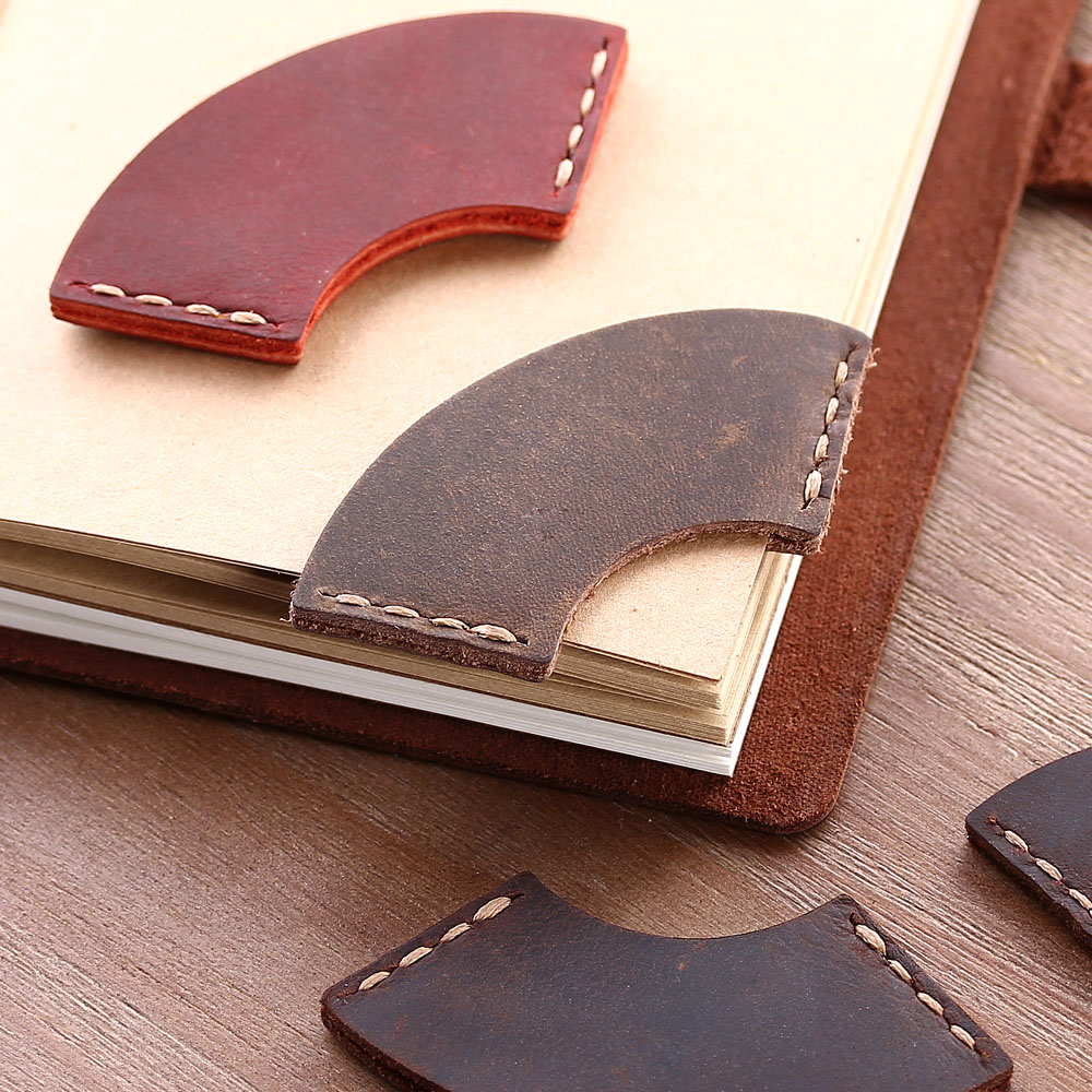 2 Pack Handmade Rustic Bookmarks For Books,  Genuine Leather Corner Page Marker, Handmade Memo Stationery Gift School Supplies