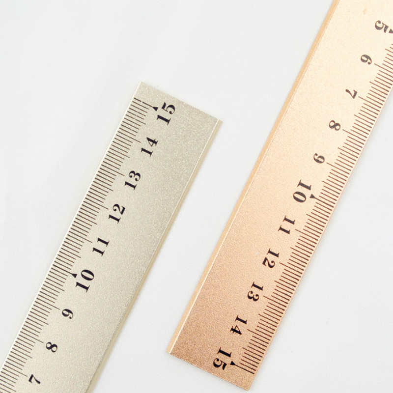 Straight Ruler Rose Gold Silver Measurement Regua Patchwork Ruler Stationery Ruler Metal Tools For Patchwork To Draw Kids Ruler