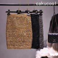 Cakucool New Bling Gold Lurex Skirt Bodycon Pencil Skirts Stretch Korea Design Empire Mini Skirts Luxury Sexy Club Khaki Silver