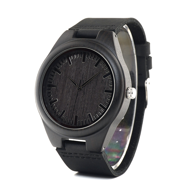 Luxury Black Wooden Real Leather Quartz Watch