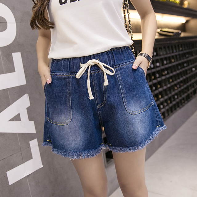 plus big size 4xl denim jeans shorts women summer spring 2016 bermuda feminina wide-legged loose jeans shorts female A0658