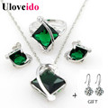 50% off Fashion Silver Wedding Jewelry Sets with Green Blue Stones for the Bride Women Necklace Earrings Set with Zircon T295