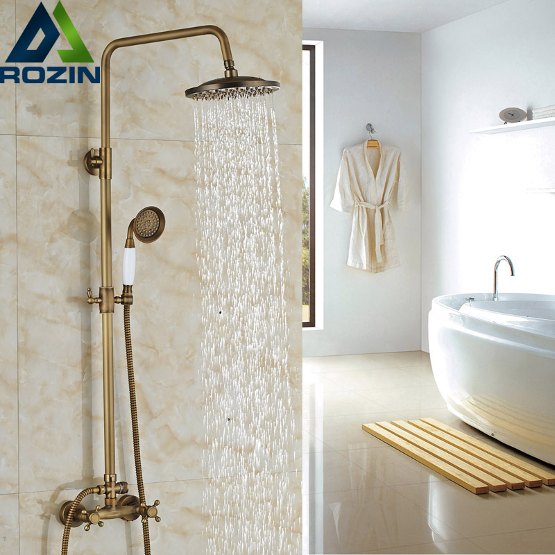 Brass Antique 8 Rain & Handheld Shower Faucet Set Wall Mounted Shower System Dual Handles sognare new wall mounted bathroom bath shower faucet with handheld shower head chrome finish shower faucet set mixer tap d5205