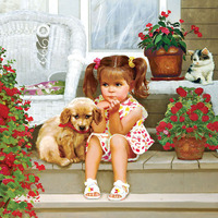 New Arrival Little Girl And Her Dog Cute 5d Diy Diamond Painting Embroidery Kids Handmade Picture
