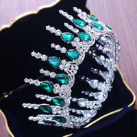 Good Quality Prom Queen Crown Green/Red/White Crystal Rhinestone Wedding Tiaras Crowns for Women Bridal Hairband Pageant Crowns