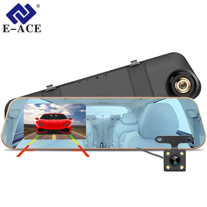 E-ACE Car Dvr Rearview-Mirror Video-Recorder Dash-Camera Auto-Registrator Dual-Lens FHD