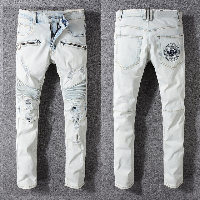 New France Style #1047# Men's Ripped Embroidery logo Stretch Washed Moto Pants Biker Light Blue Jeans Slim Trousers Size 29-42