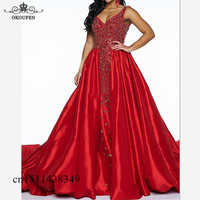 Luxury Beads Rhinestone Red Prom Dresses For Women Overskirts 2019 Long Court Train A Line Formal Evening Dress Party Gown
