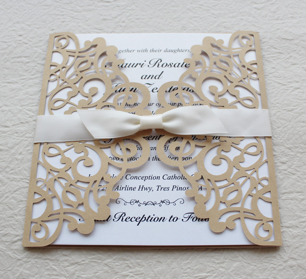 Gold and White Wedding Invitation, Gold Lace Invitation Cards, Ship ...