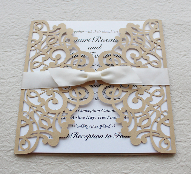 Gold and white wedding invitation gold lace invitation cards ship gold and white wedding invitation gold lace invitation cards ship worldwide 3 5 filmwisefo