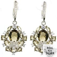 Real 8.3g 925 Solid Sterling Silver New Designed Smokey Topaz CZ Earrings 43x25mm