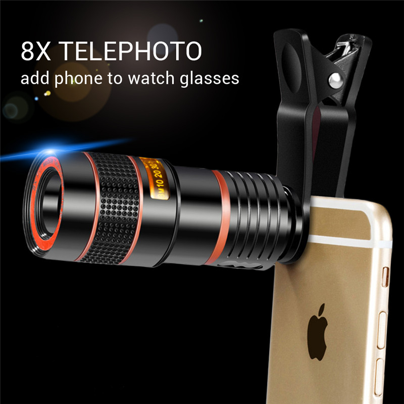 Mobile teleskop Tele 8X telefon objektiv zoom celular für smartphone telefon HD Linsen teleskop für mobile kamera objektiv