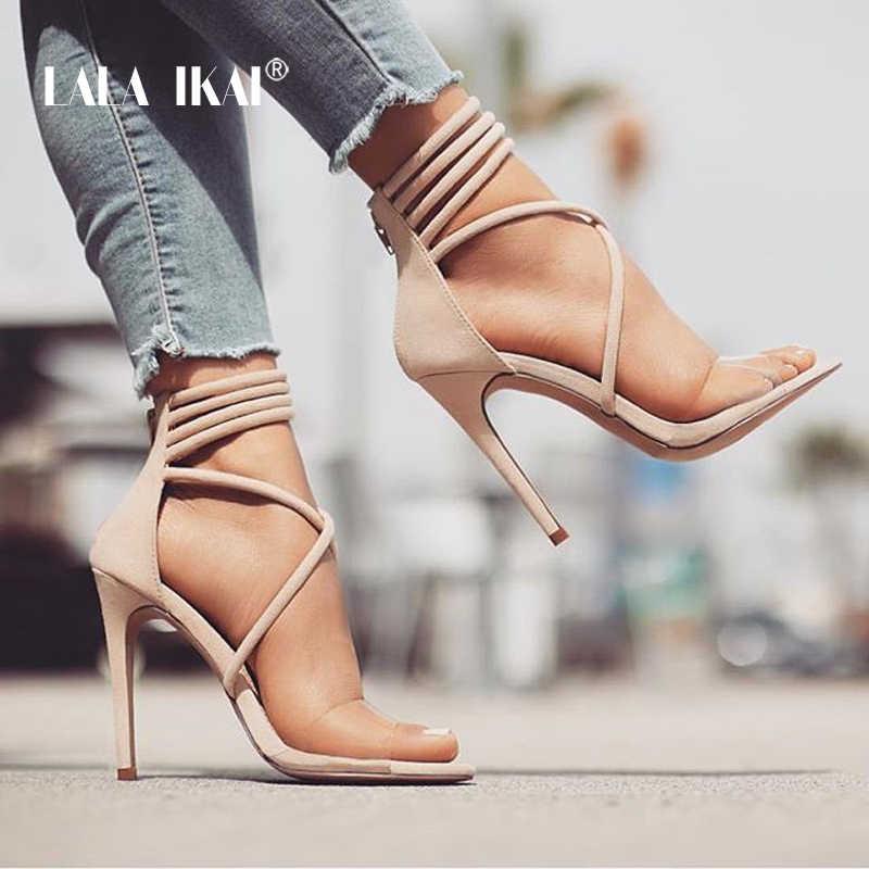 LALA IKAI moda kadın dar bant sandalet süper yüksek topuk fermuar kapatma şeffaf bant parti ayakkabıları kadın 014C1864-45