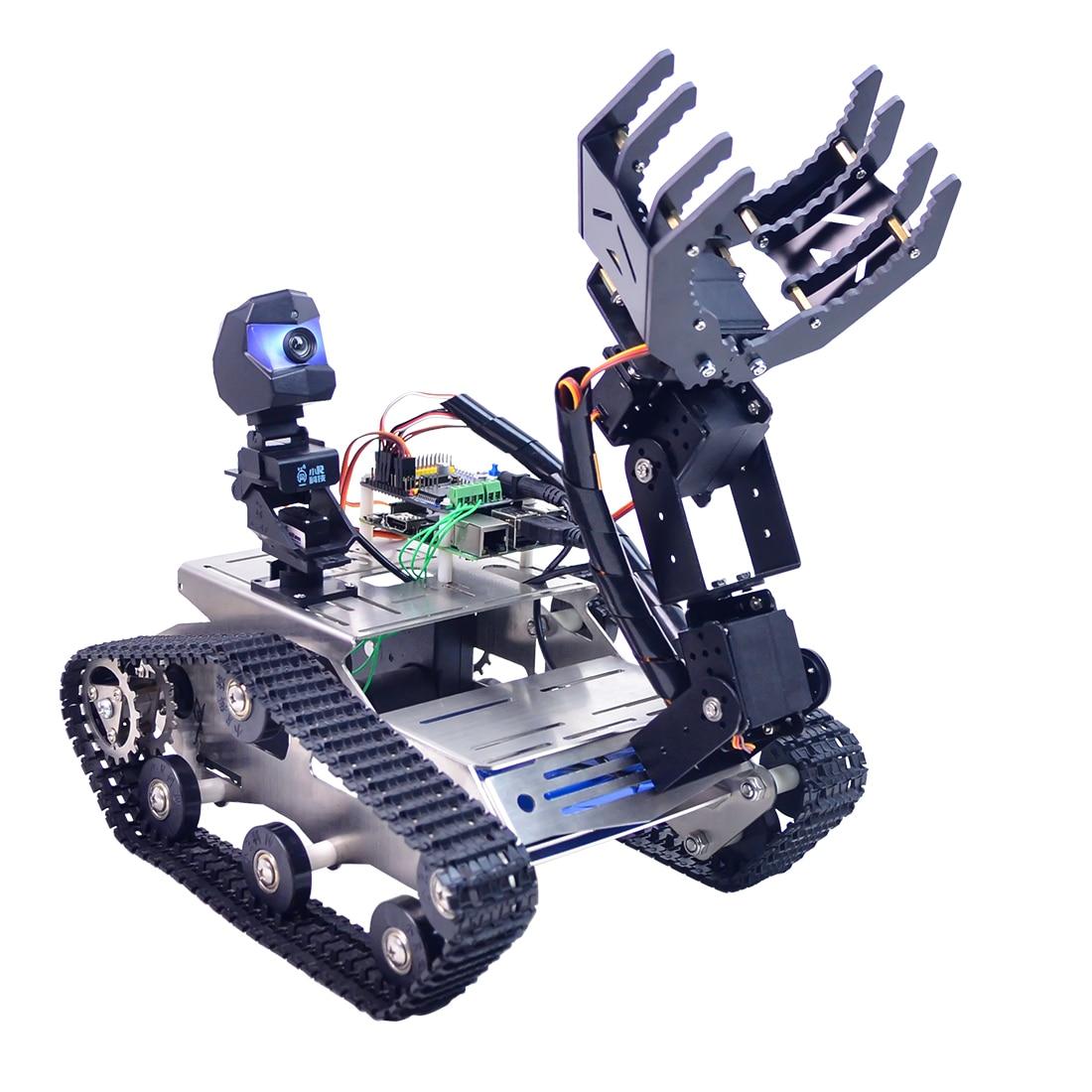 Kit de voiture Robot de réservoir FPV WiFi Programmable avec bras pour Arduino méga ligne Obstacle de patrouille éviter la grande griffe de Version
