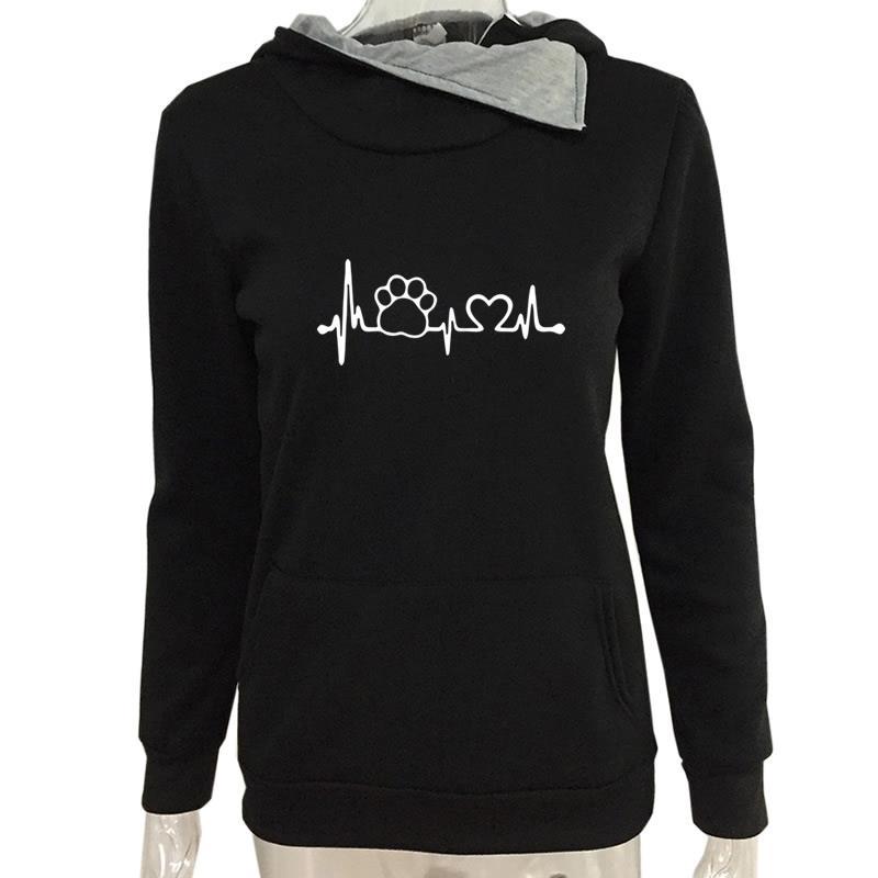 2018 neue Lustige Love Paw Print Tops Harajuku Sweatshirts Rollkragen Pullover Frauen Weiblichen Baumwolle Taschen Bts Plus Größe