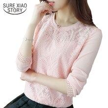 Корейская одежда женские Модные топы и блузки с длинными женские рукавами шифоновые кружевные женские топы однотонная рубашка женская 619 H 30