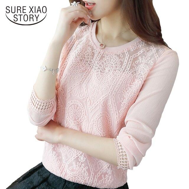2017 Korean new fashion Slim long-sleeved female chiffon lace women blouse casual loose tops solid women shirt blusas  619H 30