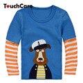 Otoño Invierno de la Alta Calidad Camiseta de Los Niños Niños Ropa de Bebé Niño Niña de Manga Larga camisetas de Algodón Capitán Perro