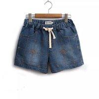 2017 Fashion Women S Jeans Summer Lattice Embroidery Pattern High Waist Stretch Denim Shorts Loose Casual