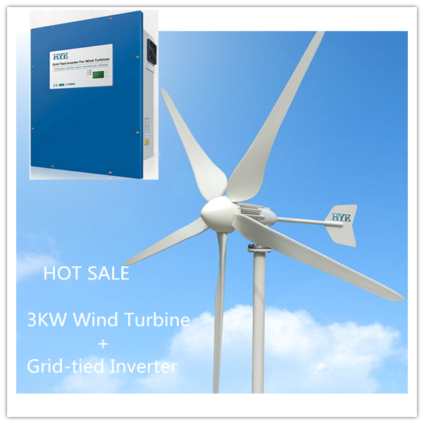 US $3595 0 |3KW /3000W Wind on grid system grid tie system 3000W wind  turbine 3kw grid tied inverter-in Alternative Energy Generators from Home