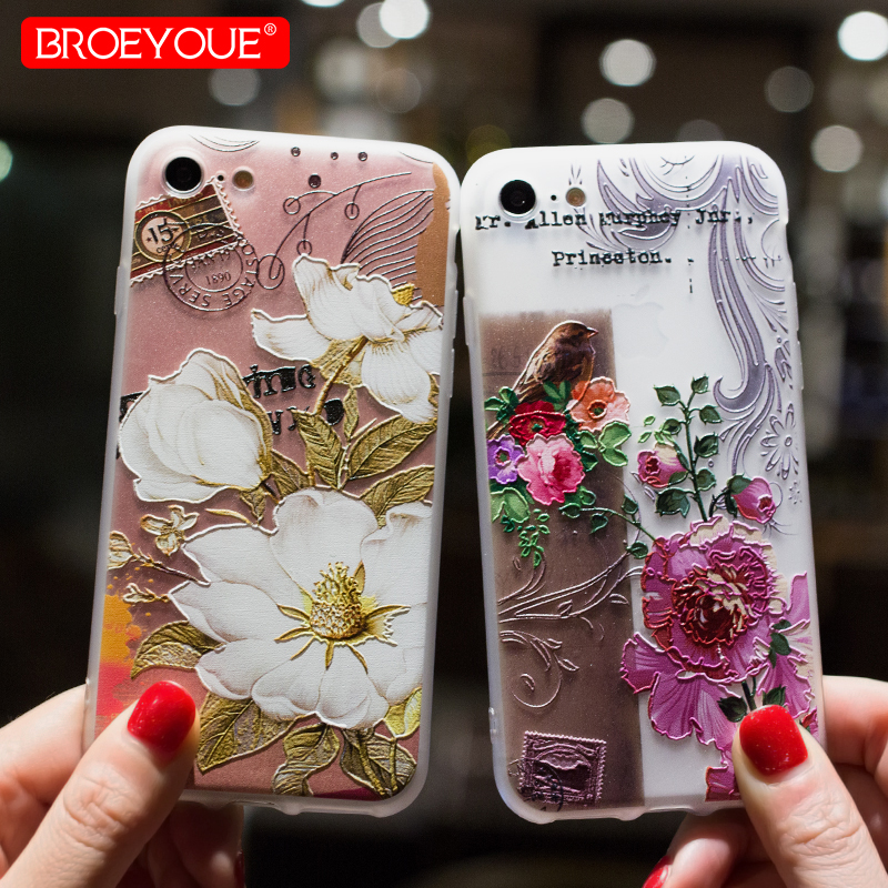 BROEYOUE Case for iPhone X 8 7 6 Plus 5 3D Relief Case Samsung Galaxy S8 S9 Plus S7 Edge J3 J5 J7 A3 A5 A7 A8 2016 2017 2018